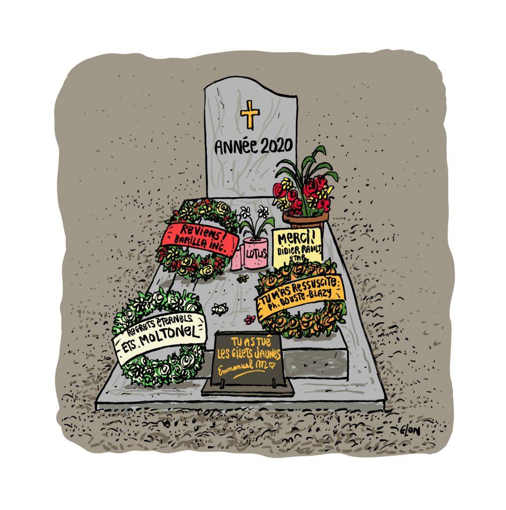 dessin presse humour année 2020 image drôle coronavirus gilets jaunes