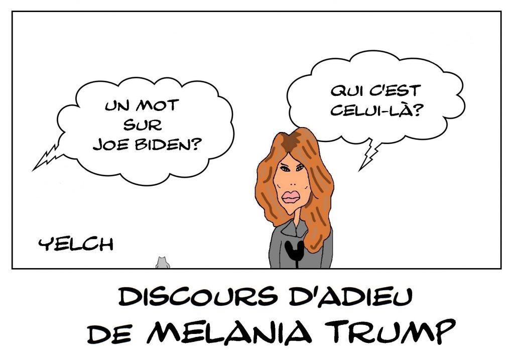 dessins humour États-Unis Amérique image drôle Melania Trump adieux Joe Biden