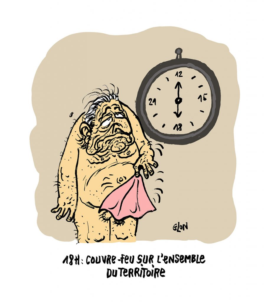 dessin presse humour coronavirus covid-19 image drôle Dominique Strauss-Kahn couvre-feu