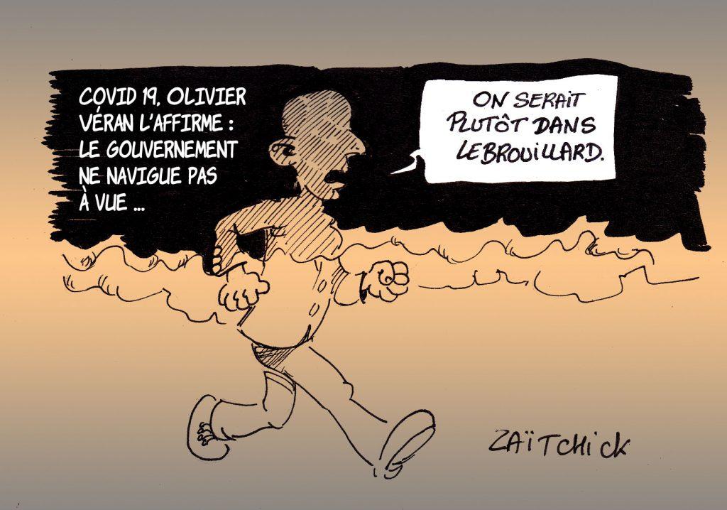dessin presse humour coronavirus covid-19 image drôle Olivier Véran gouvernement brouillard