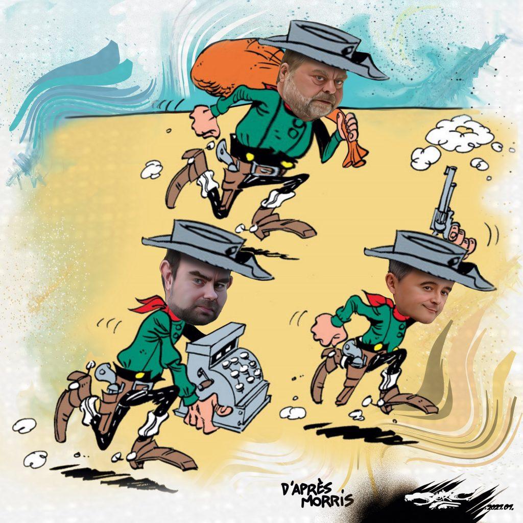 dessin presse humour Gérald Darmanin image drôle Éric Dupond-Moretti Sébastien Lecornu