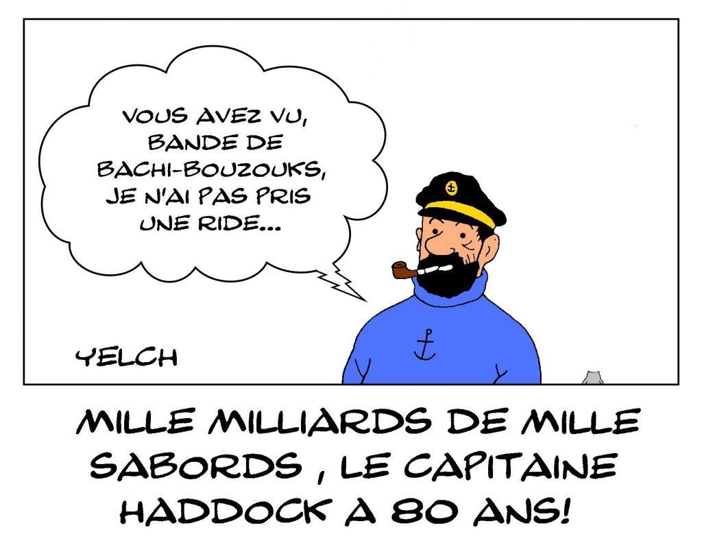 dessins humour capitaine Haddock anniversaire image drôle Tintin Hergé