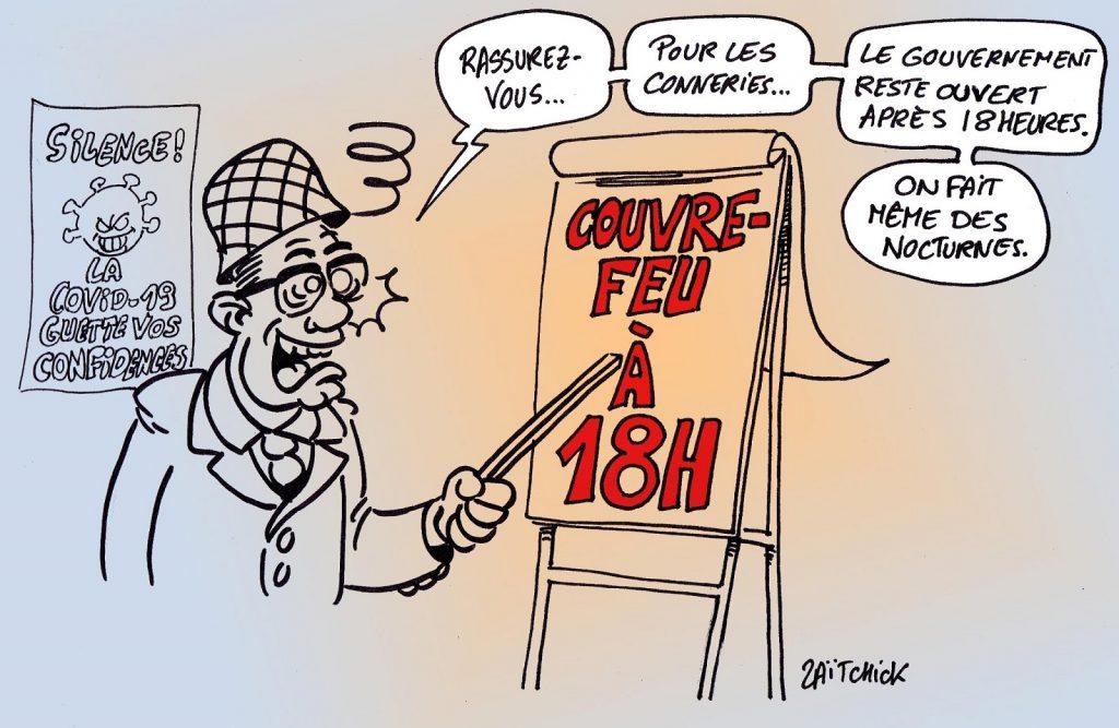 dessin presse humour coronavirus covid-19 image drôle Jean Castex couvre-feu
