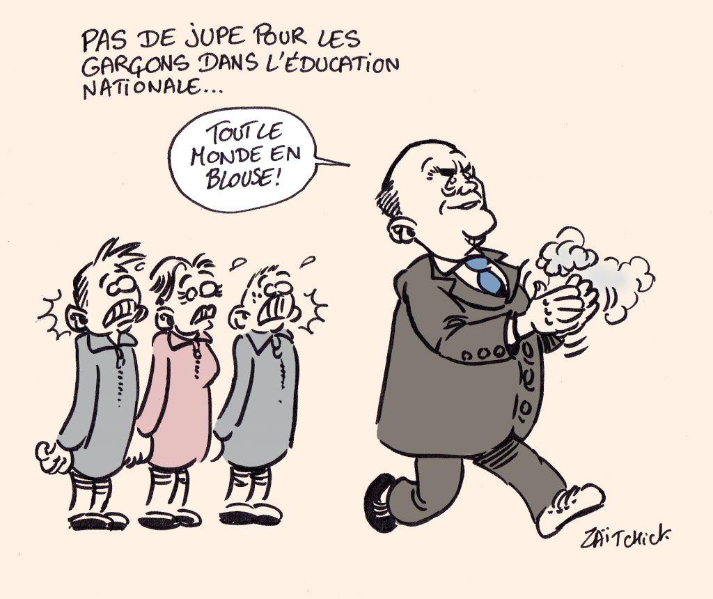 dessin presse humour Fouad transgenre image drôle suicide jupe Éducation National