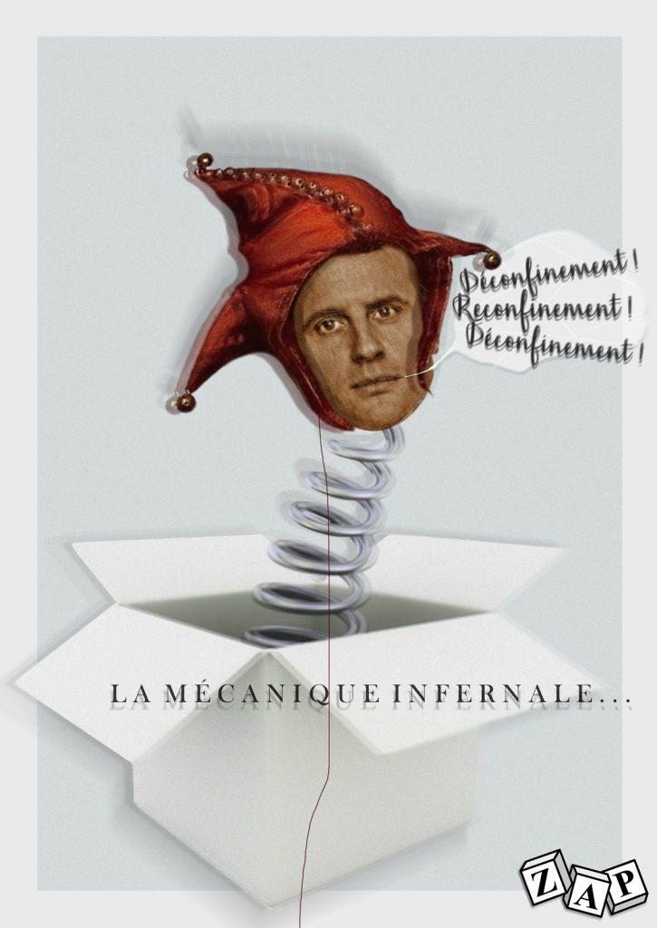 dessin presse humour Emmanuel Macron image drôle coronavirus covid19 confinement déconfinement