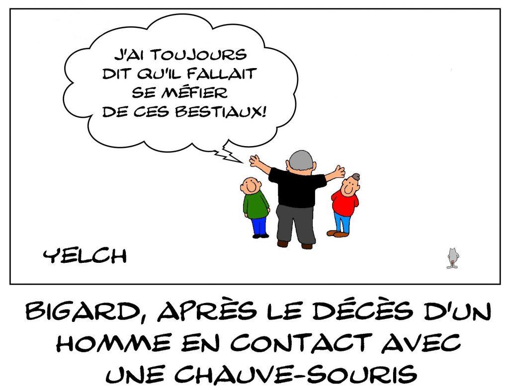 dessins humour Jean-Marie Bigard image drôle décès chauve-souris rage