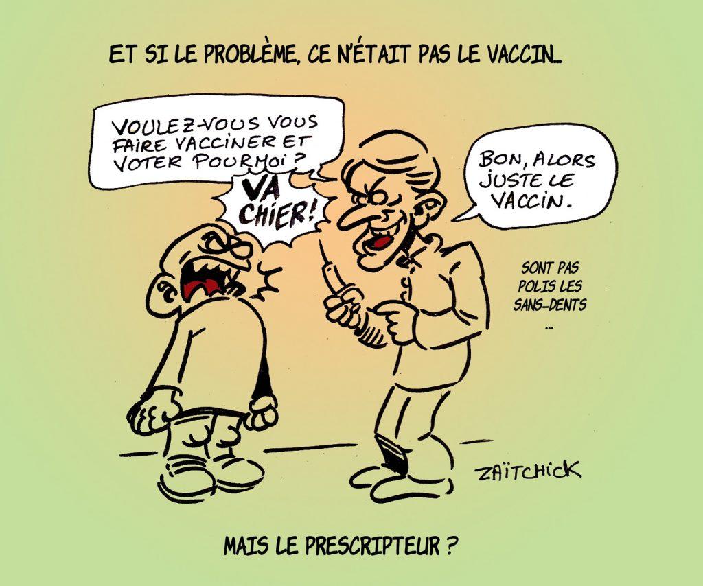 dessin presse humour coronavirus covid-19 image drôle vaccin Emmanuel Macron