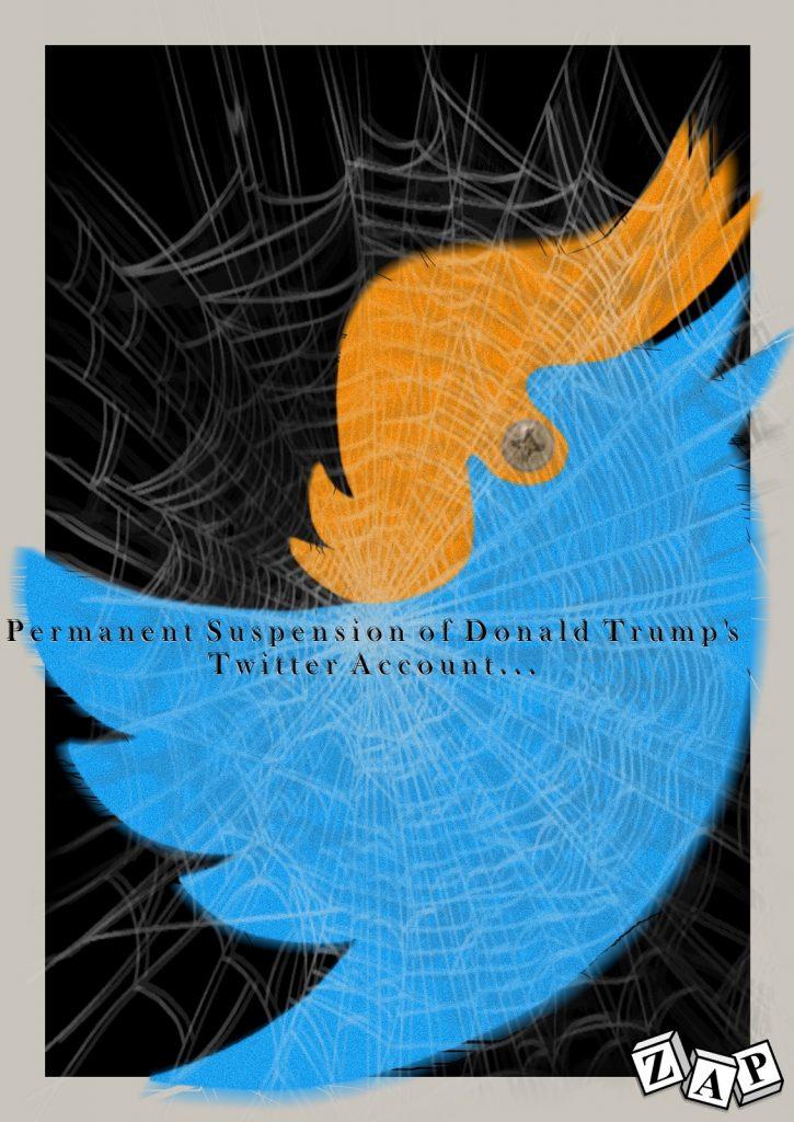 dessin presse humour États-Unis Donald Trump image drôle suspension compte Twitter