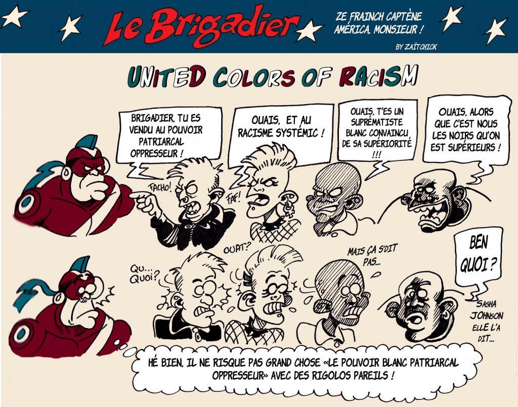 image drôle Le Brigadier dessin humour racisme patriarcat oppresseur blanc