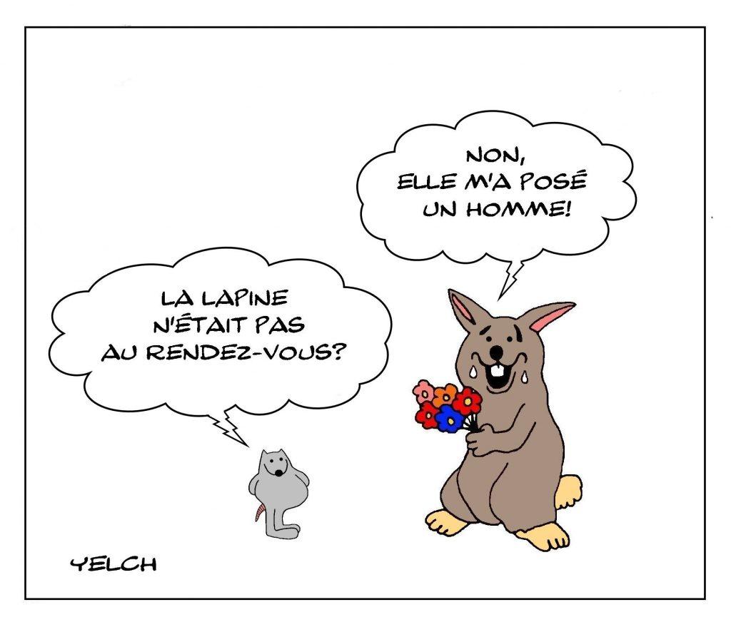dessins humour expression image drôle rendez-vous lapin