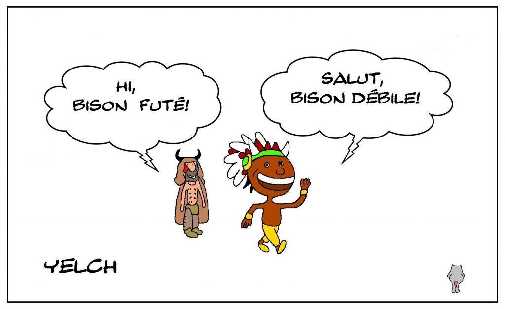 dessins humour États-Unis Qanon image drôle Jake Angeli bison Capitole