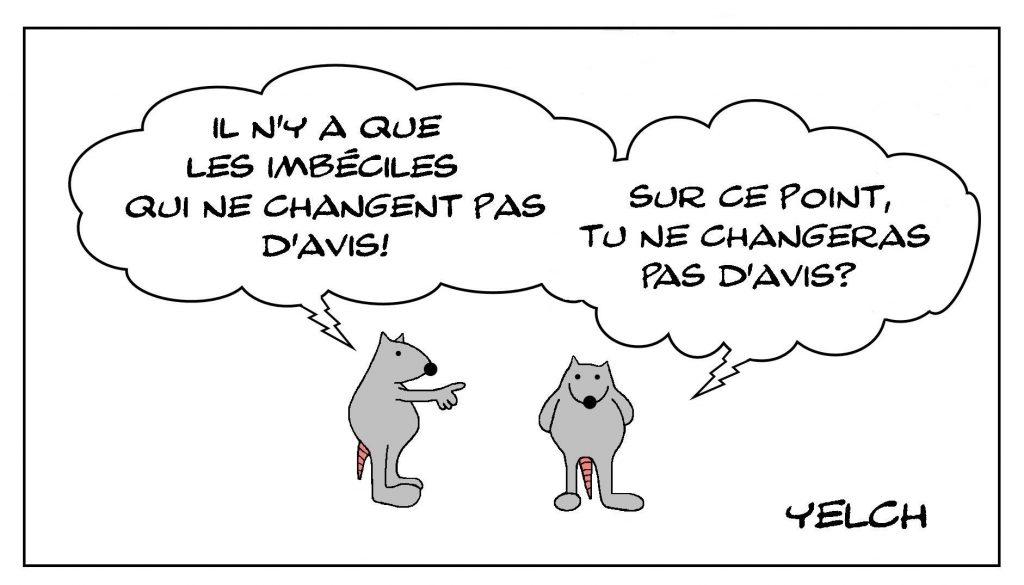 dessins humour proverbe dicton image drôle imbécile changement avis