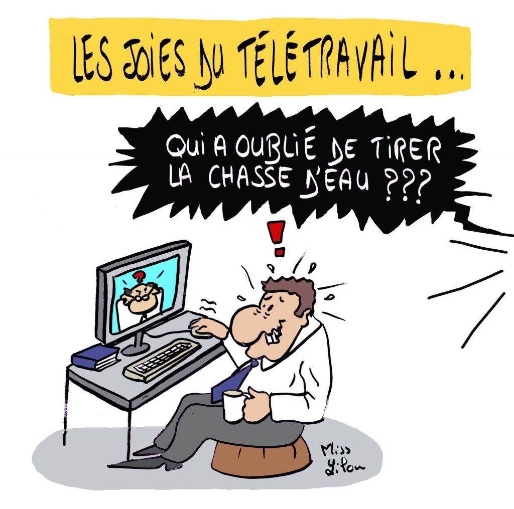 dessin presse humour coronavirus covid-19 image drôle télétravail