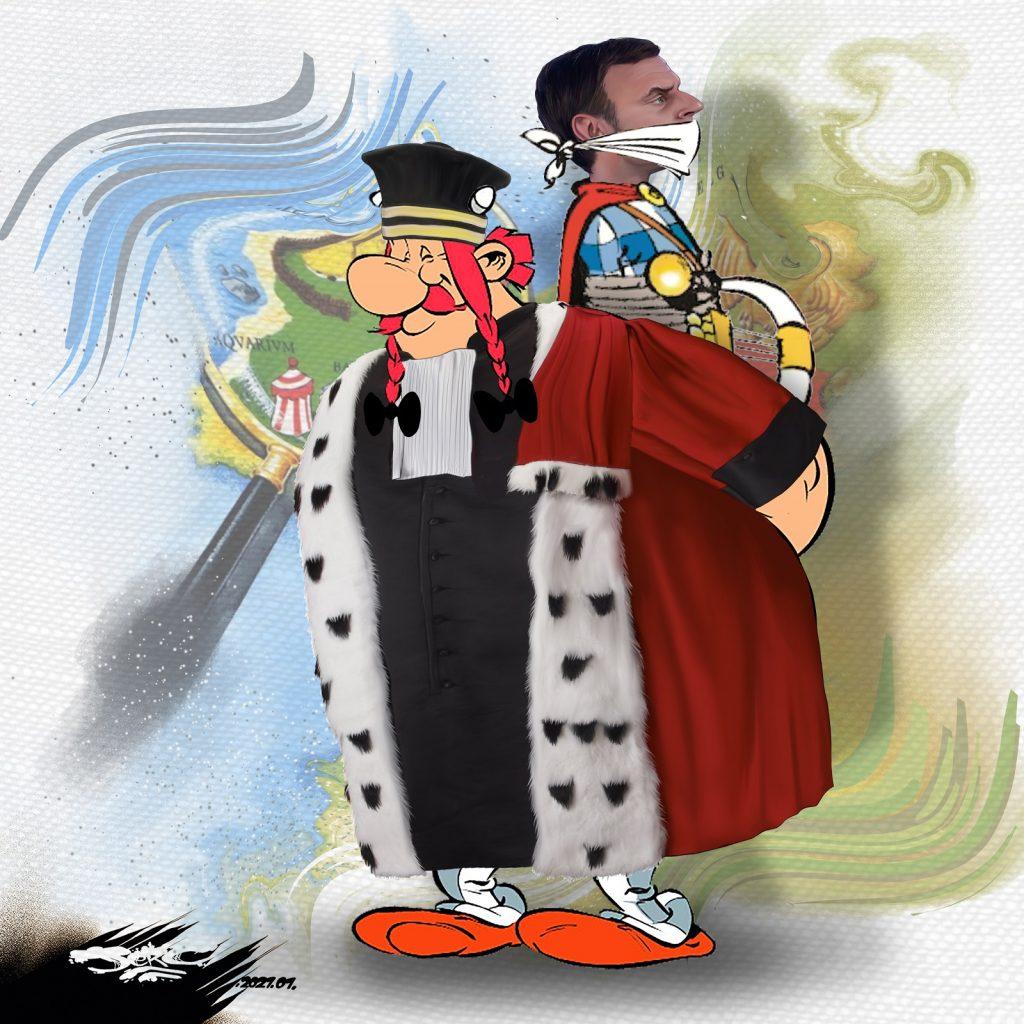 dessin presse humour Emmanuel Macron image drôle procureurs justice Obélix barde