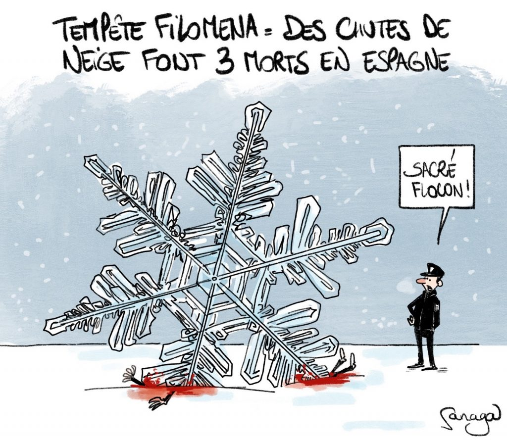 dessin presse humour hiver Espagne victime image drôle tempête neige Filomena