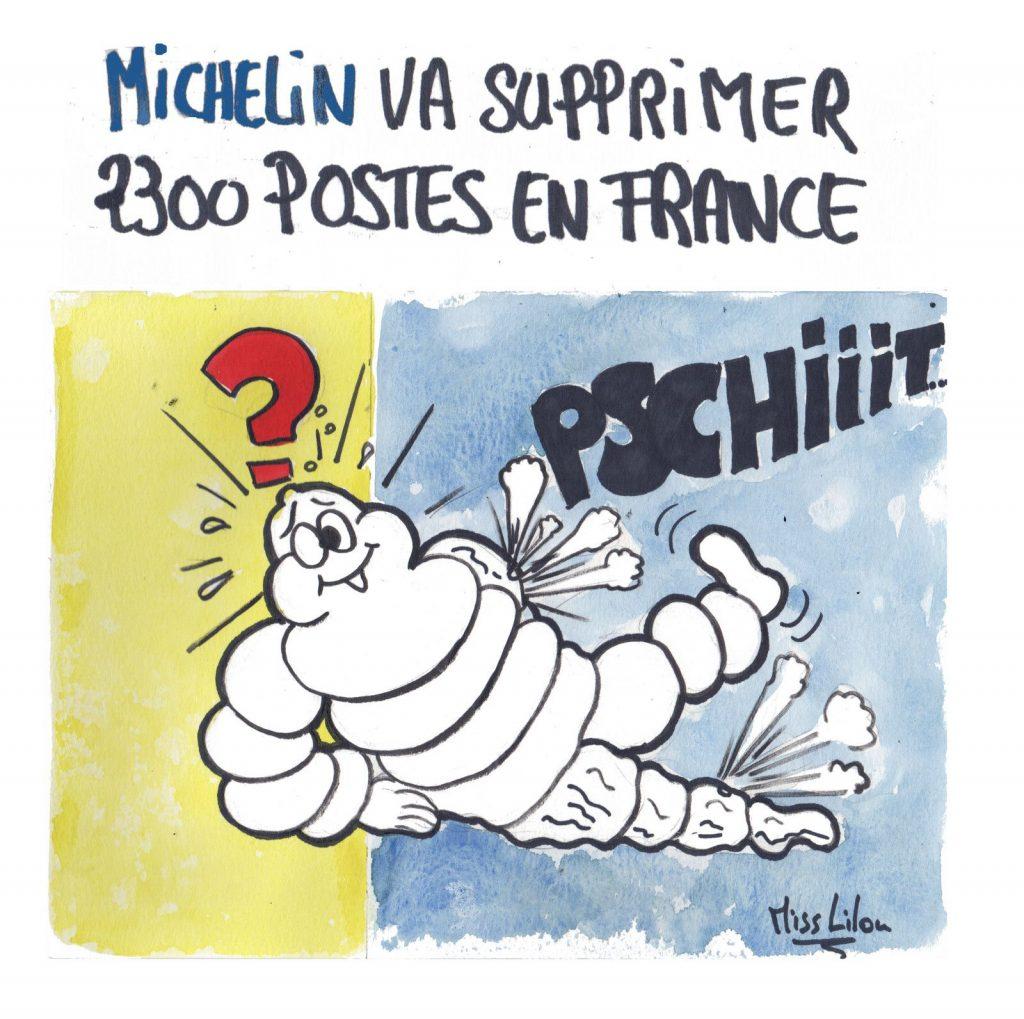 dessin presse humour Michelin suppression postes image drôle licenciement bibendum