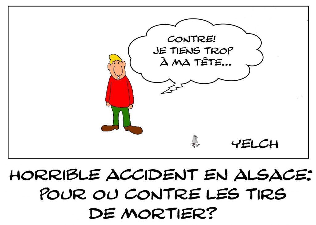 dessin presse humour Alsace Haguenau image drôle accident mortiers