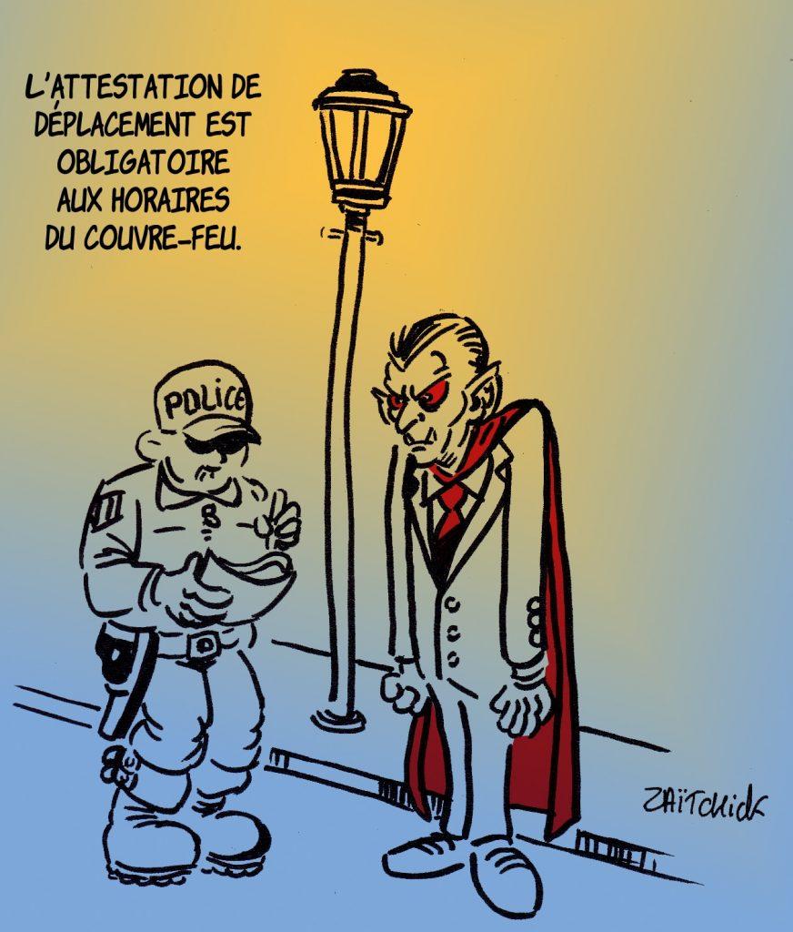 dessin presse humour coronavirus couvre-feu image drôle covid-19 attestation déplacement