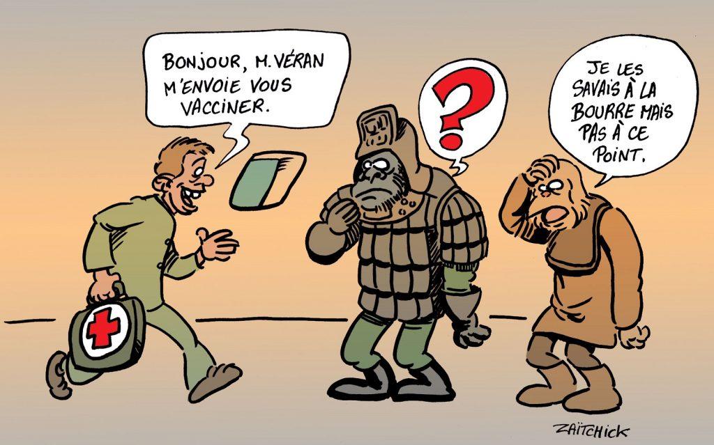 dessin presse humour coronavirus covid-19 image drôle Olivier Véran La Planète des Singes vaccination