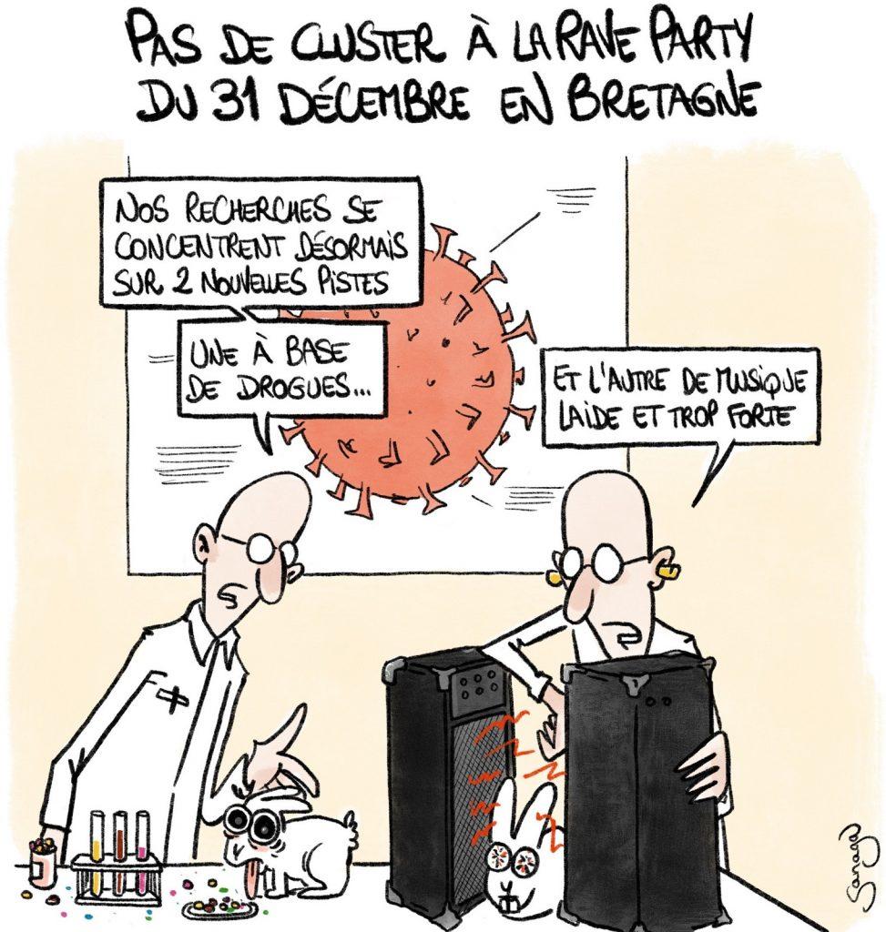 dessin presse humour coronavirus vaccin image drôle rave-party cluster Bretagne