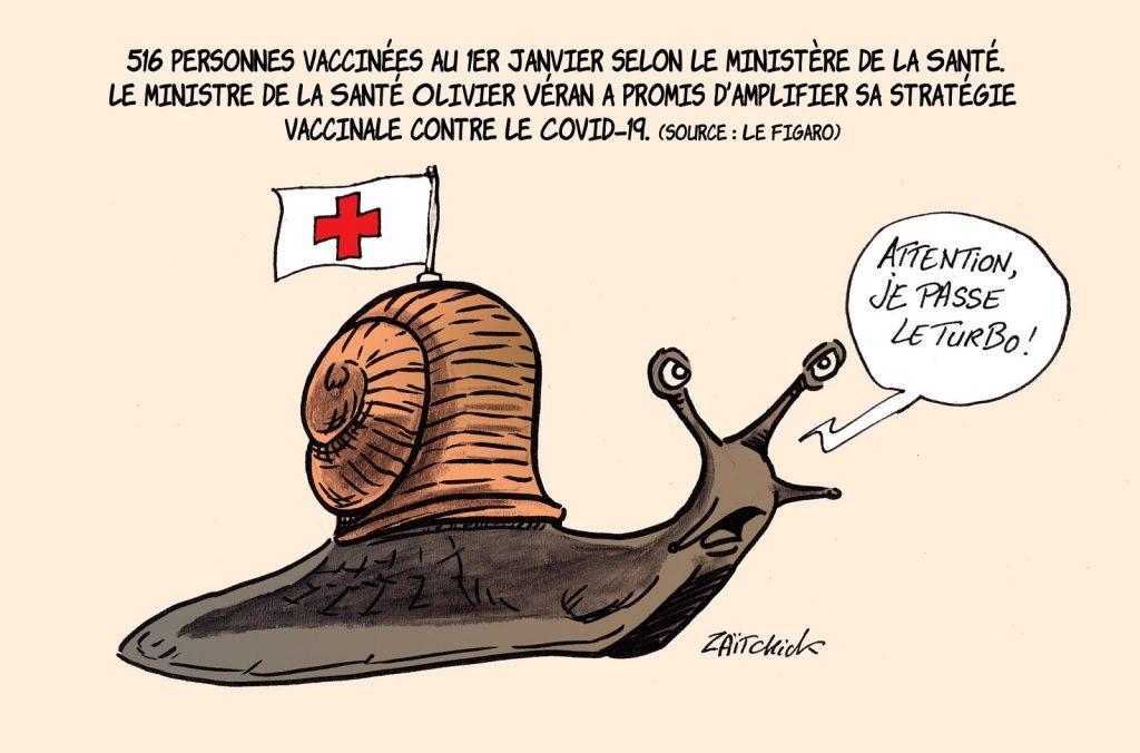 dessin presse humour coronavirus covid-19 image drôle vaccin anti-covid campagne vaccination escargot