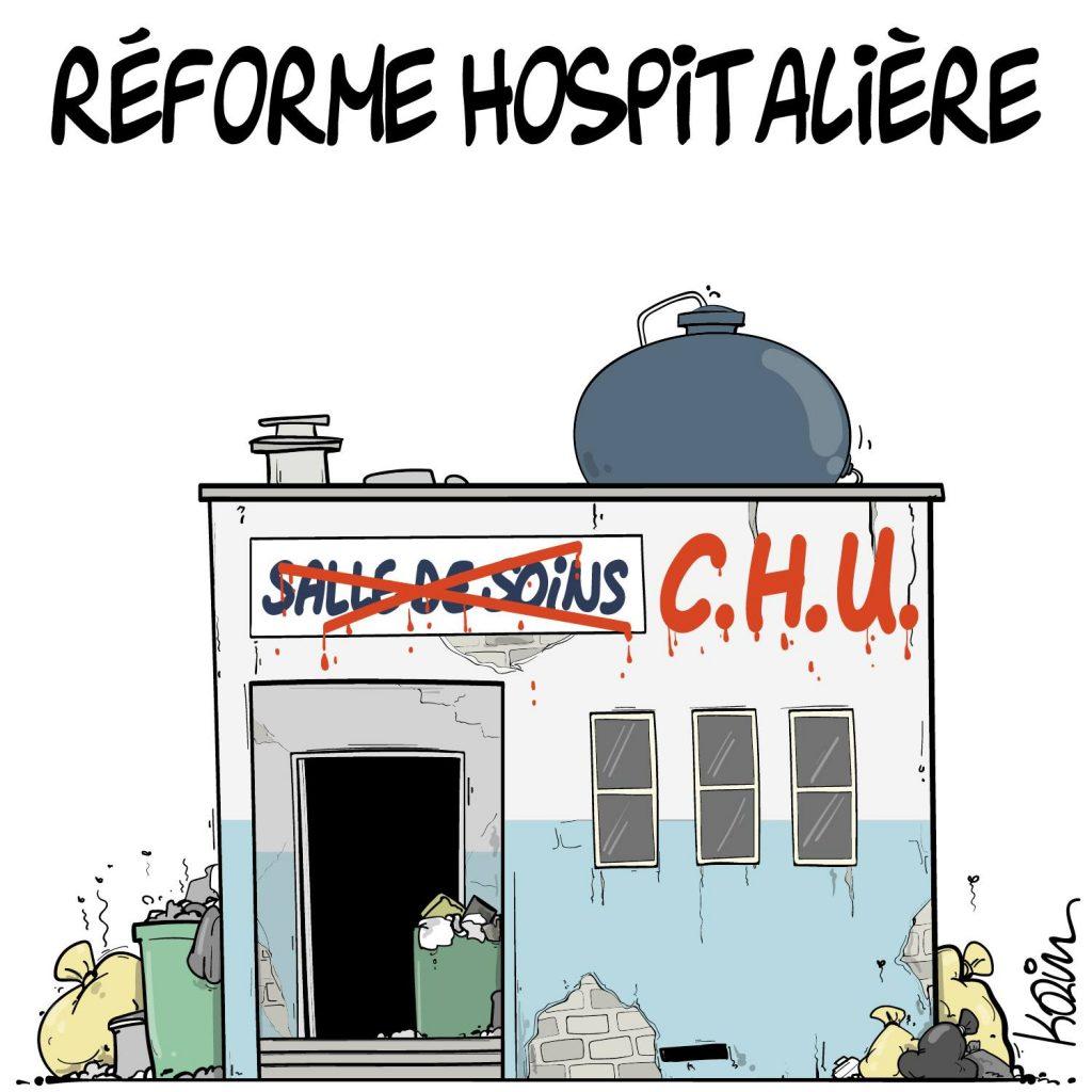 dessin presse humour hôpital public image drôle réforme hospitalière