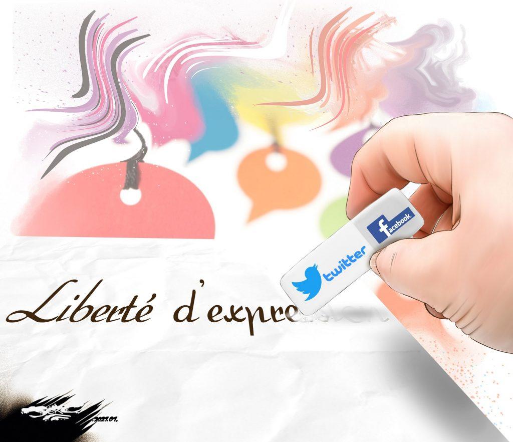 dessin presse humour Gafam liberté d'expression image drôle censure Facebook Twitter