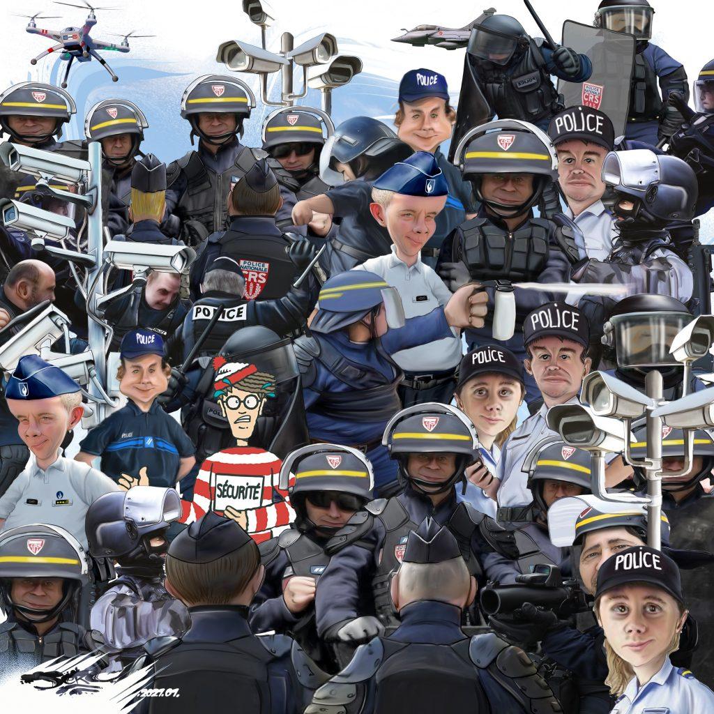 dessin presse humour loi sécurité globale image drôle surveillance généralisé