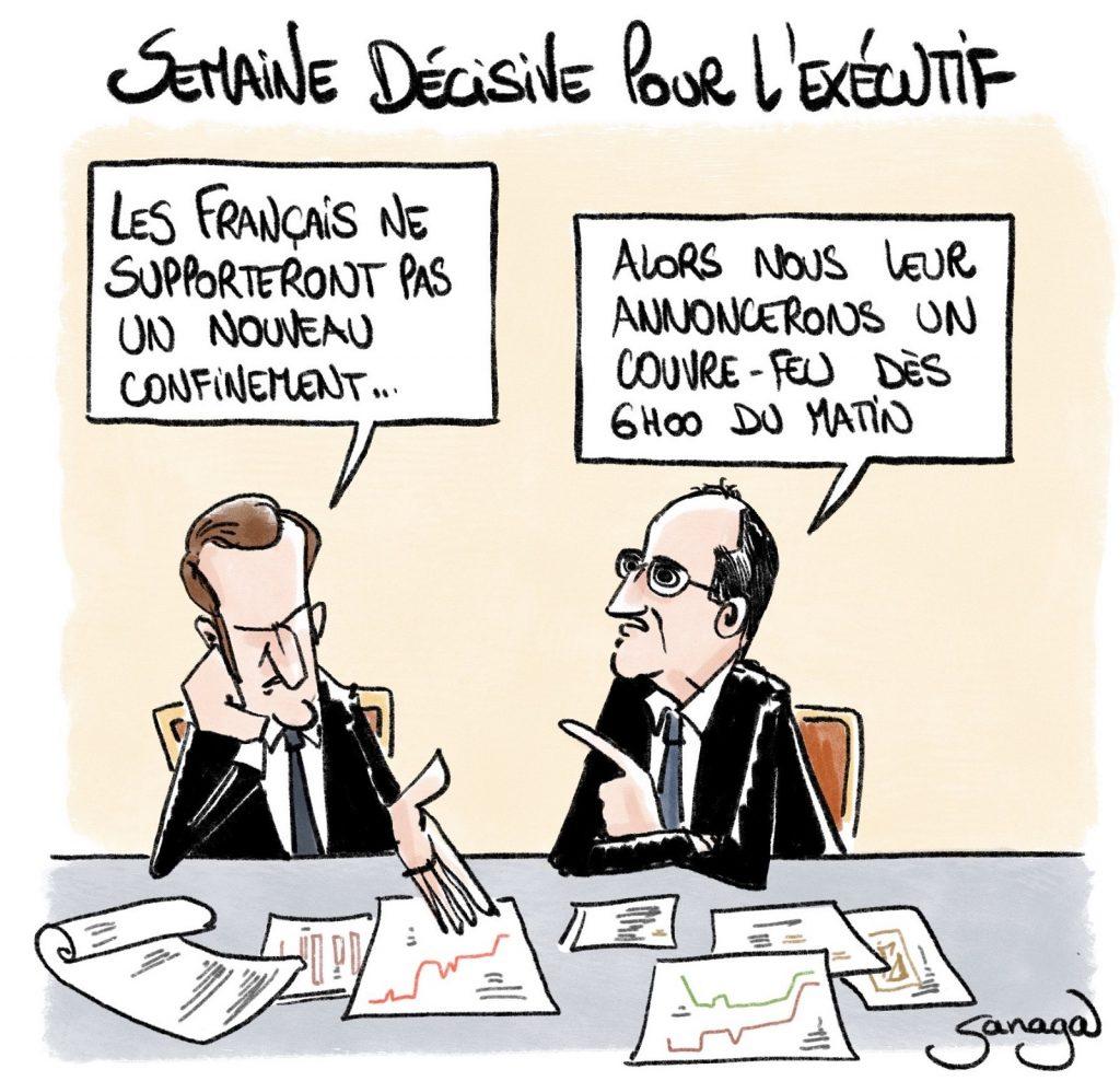 dessin presse humour coronavirus confinement Emmanuel Macron image drôle couvre-feu Jean Castex