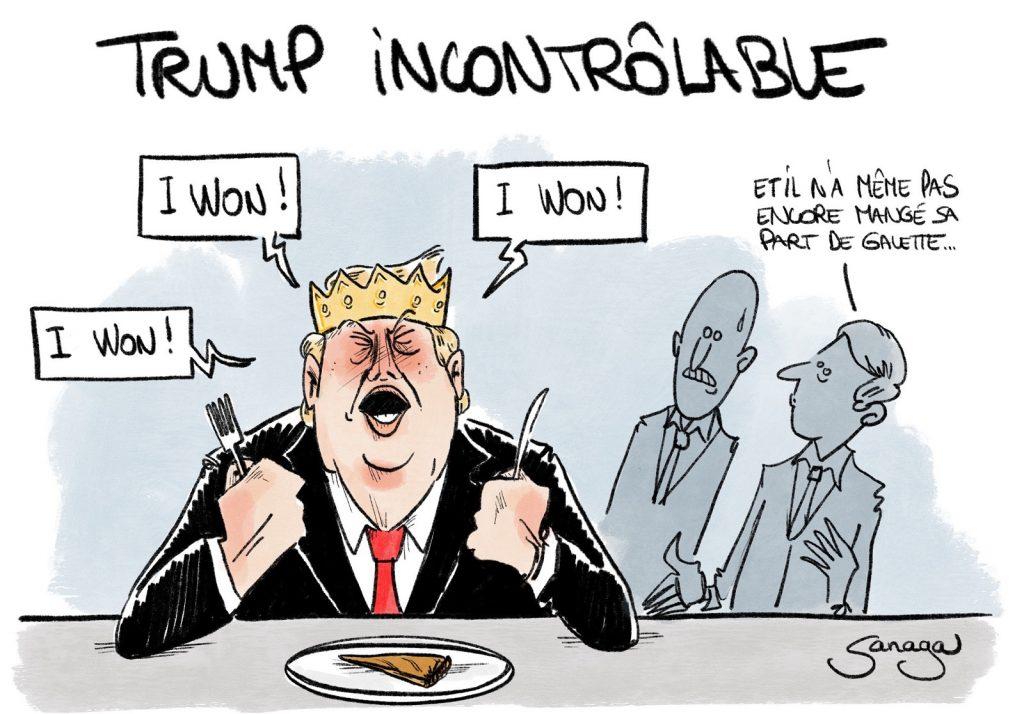dessin presse humour États-Unis Donald Trump image drôle galette des rois épiphanie