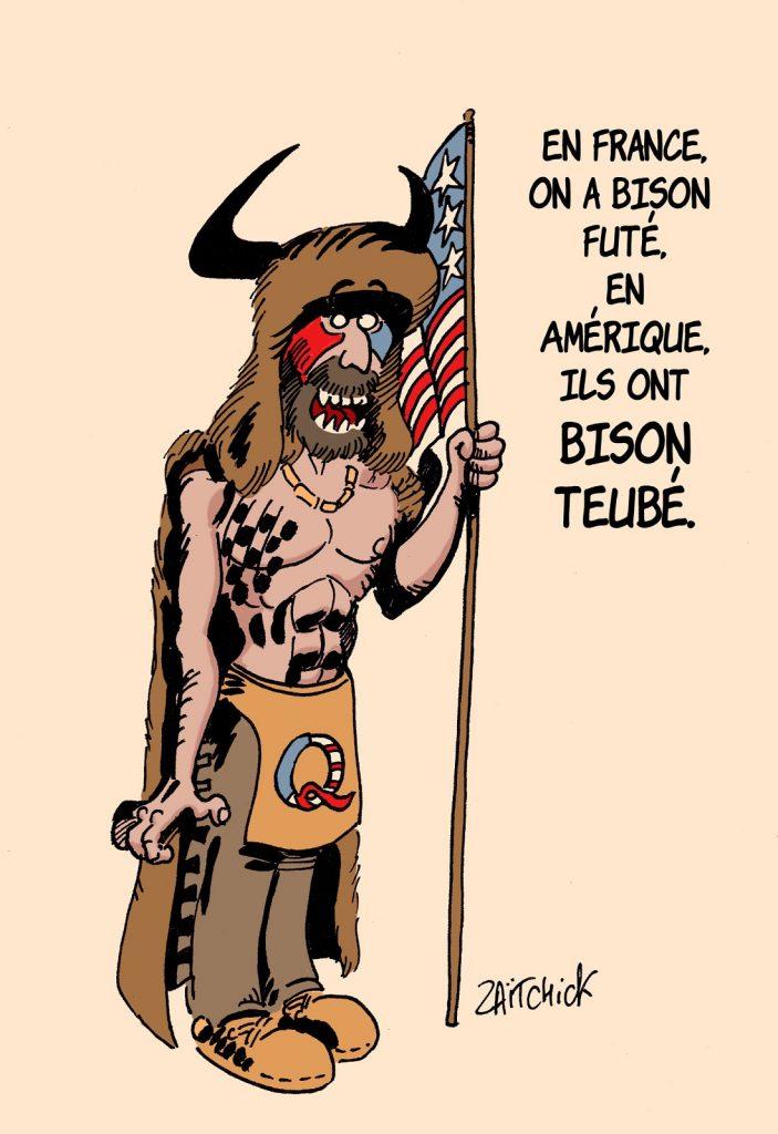 dessin presse humour États-Unis Qanon image drôle Jake Angeli bison Capitole