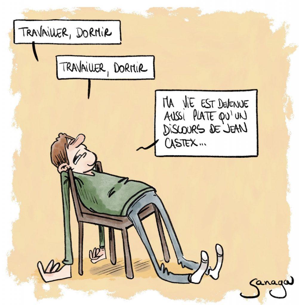 dessin presse humour coronavirus covid-19 couvre-feu image drôle discours Jean Castex platitude
