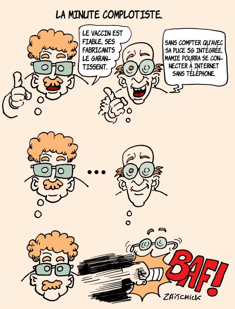 dessin presse humour coronavirus covid-19 image drôle vaccin fiabilité complotisme