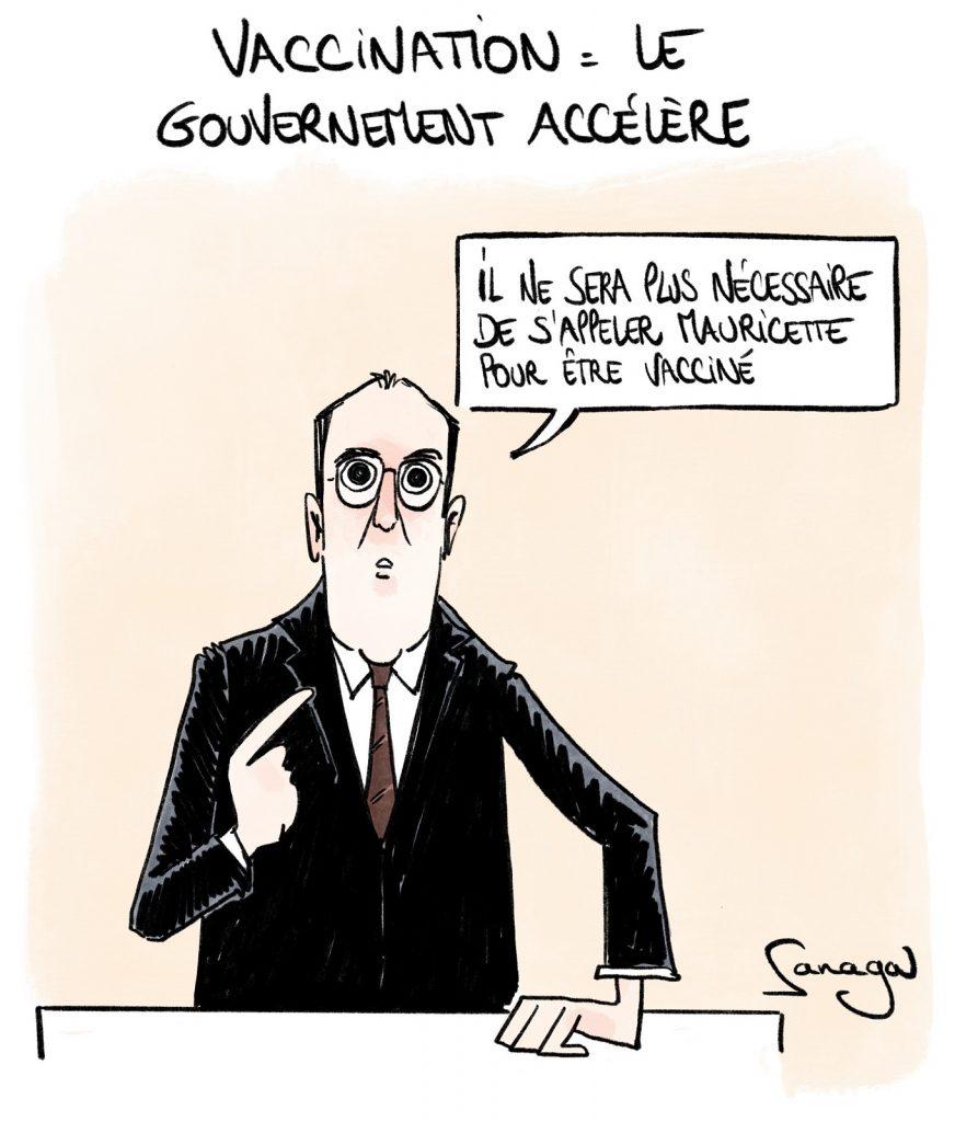 dessin presse humour coronavirus covid-19 image drôle Jean Castex vaccination Mauricette