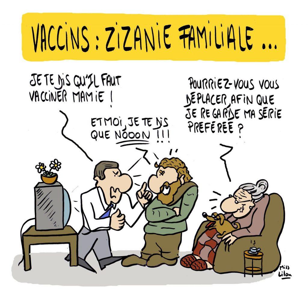 dessin presse humour coronavirus covid-19 image drôle vaccination zizanie familiale