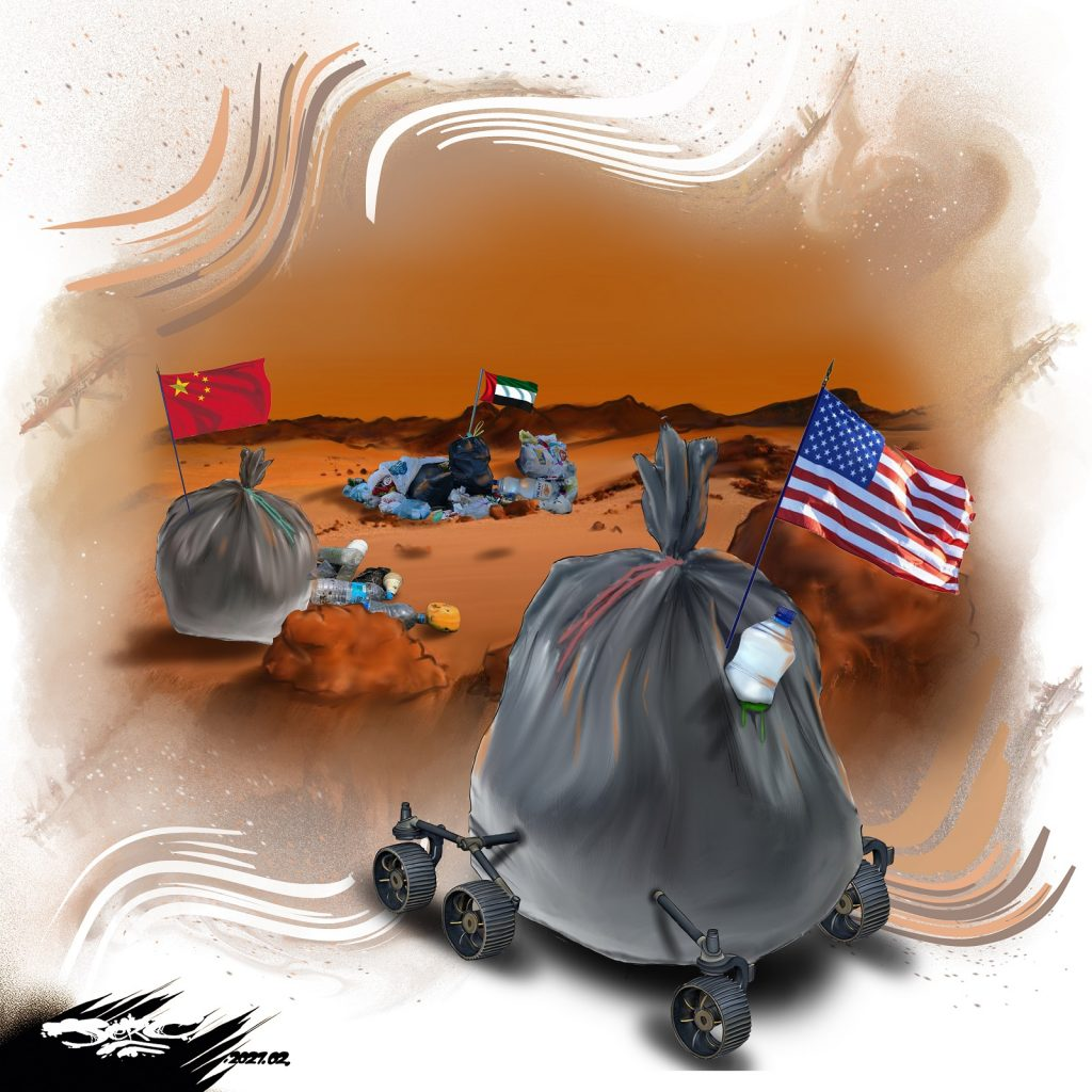 dessin presse humour mission Mars 2020 image drôle NASA rover Perseverance