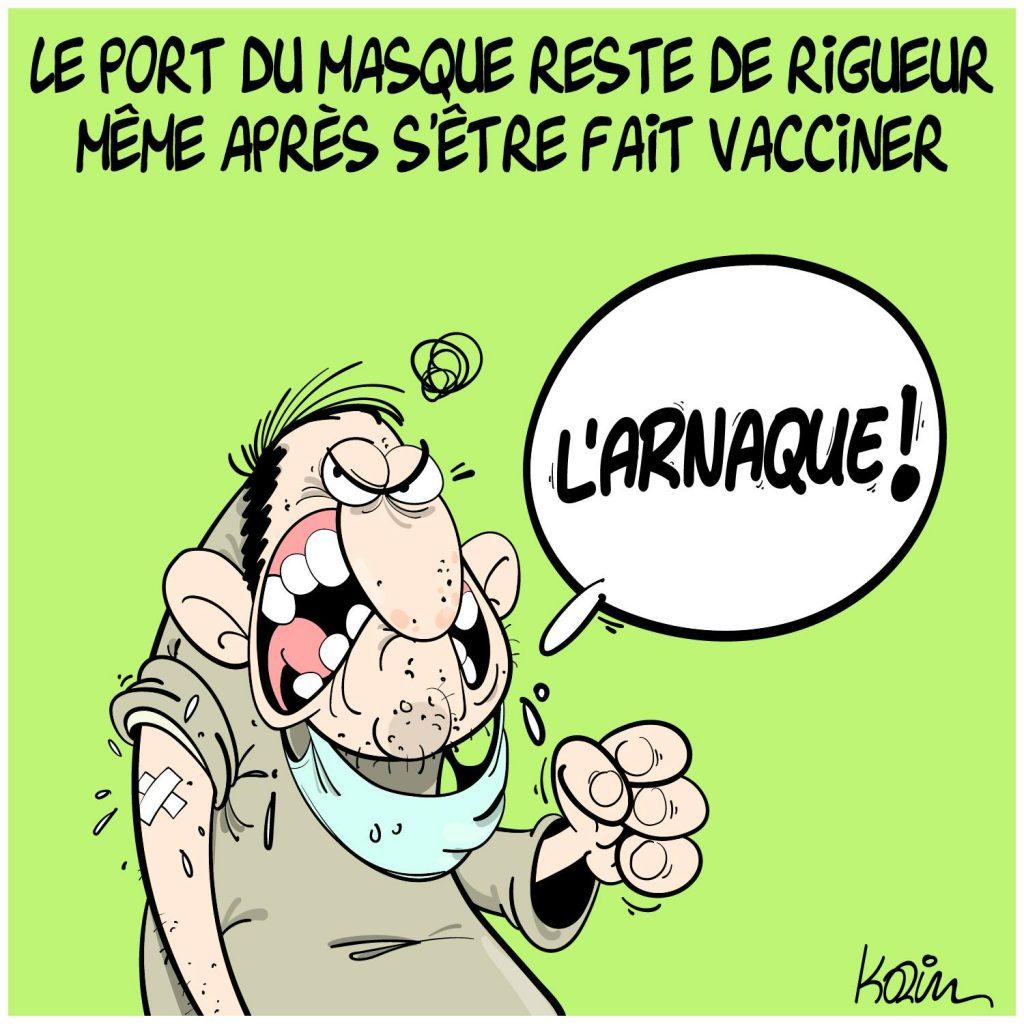 dessin presse humour coronavirus covid-19 image drôle vaccin port du masque