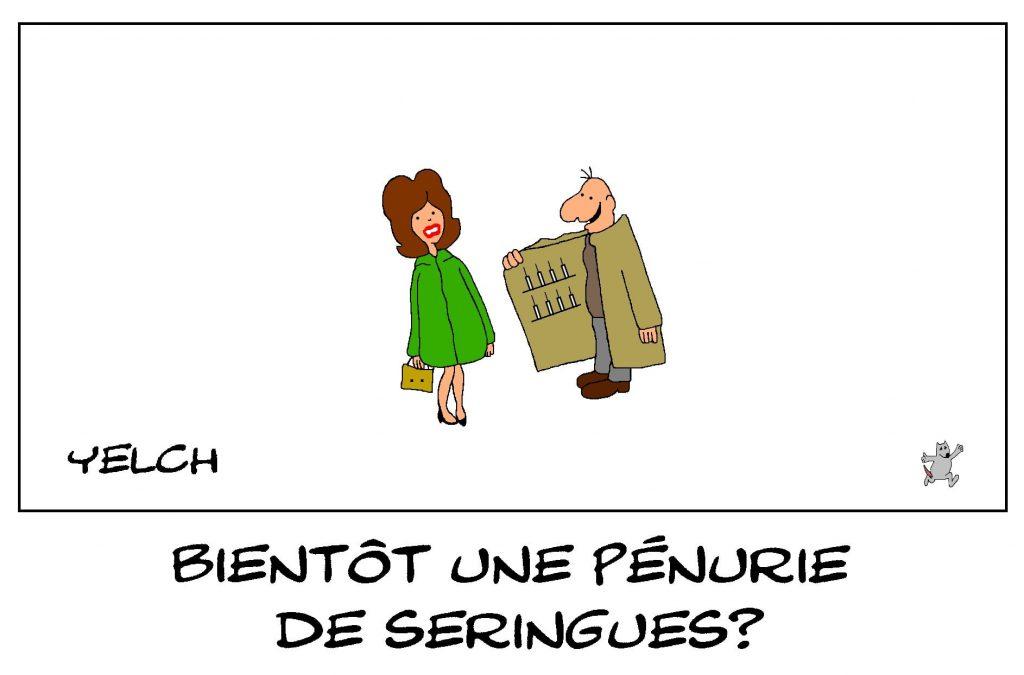 dessins humour coronavirus covid-19 image drôle pénurie seringues