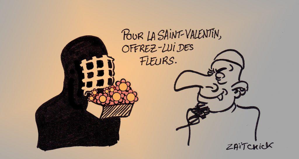 dessin presse humour saint valentin image drôle islamisme intégrisme fleurs burka