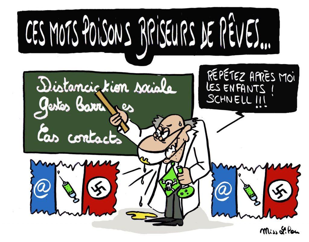 dessin presse humour coronavirus covid-19 image drôle dictature sanitaire