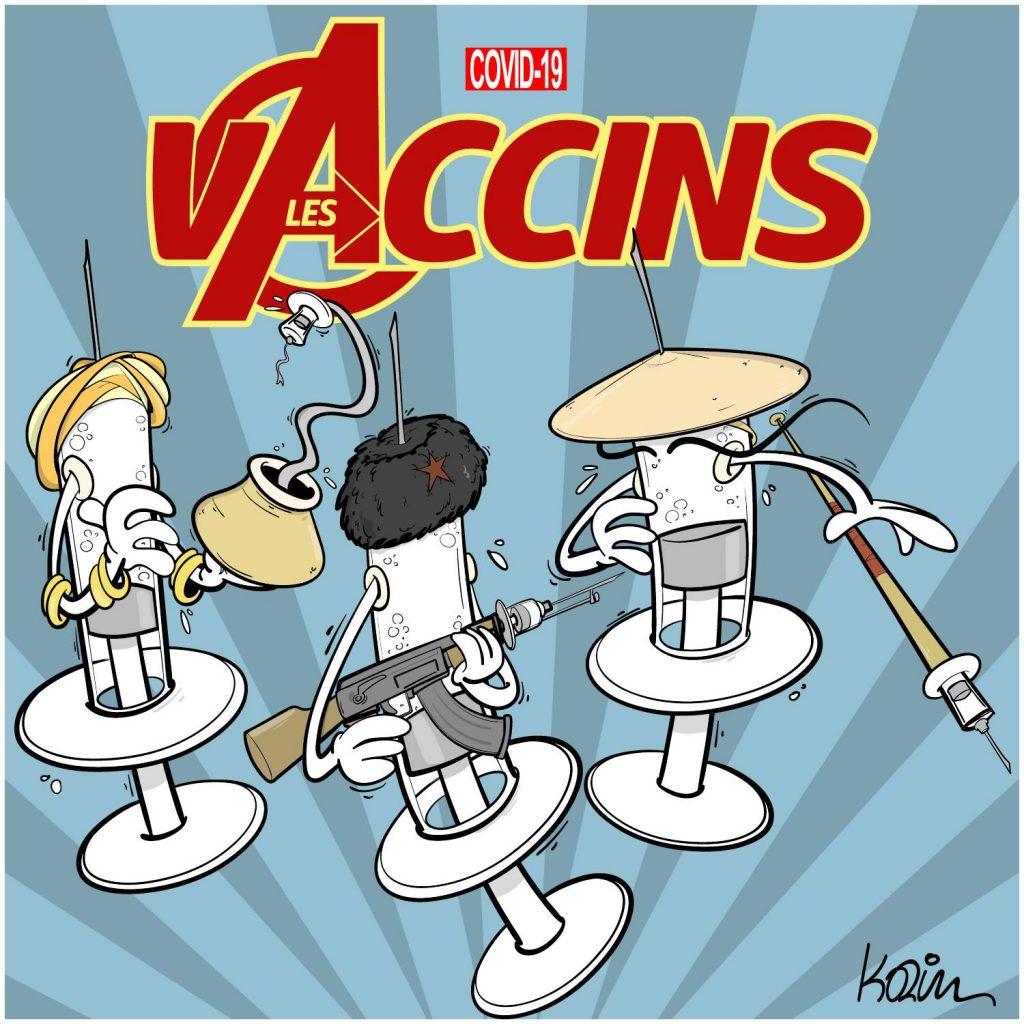dessin presse humour coronavirus covid-19 image drôle vaccin indien chinois russe