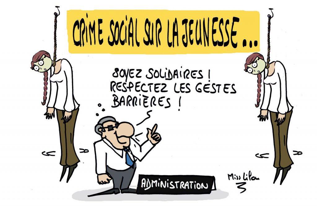 dessin presse humour coronavirus covid19 suicide image drôle crime social jeunesse
