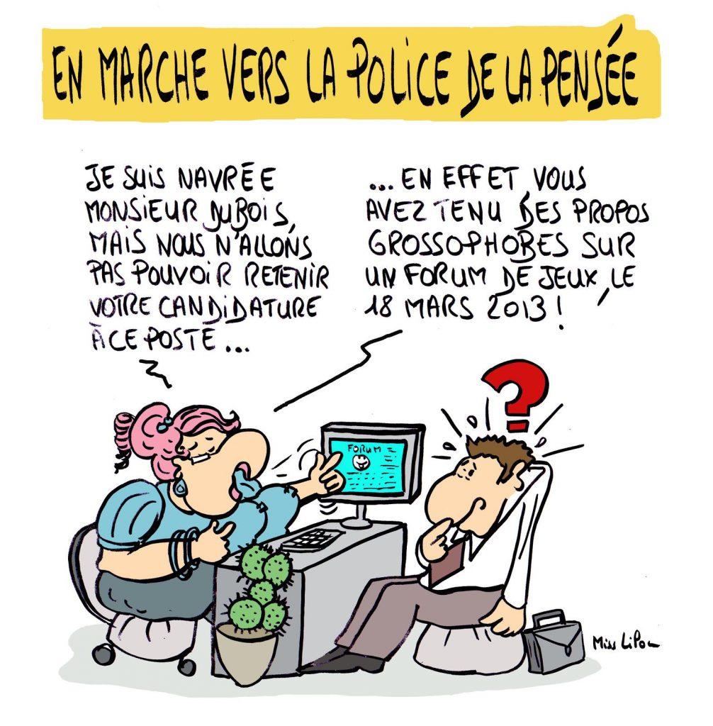 dessin presse humour réseaux sociaux image drôle police pensée