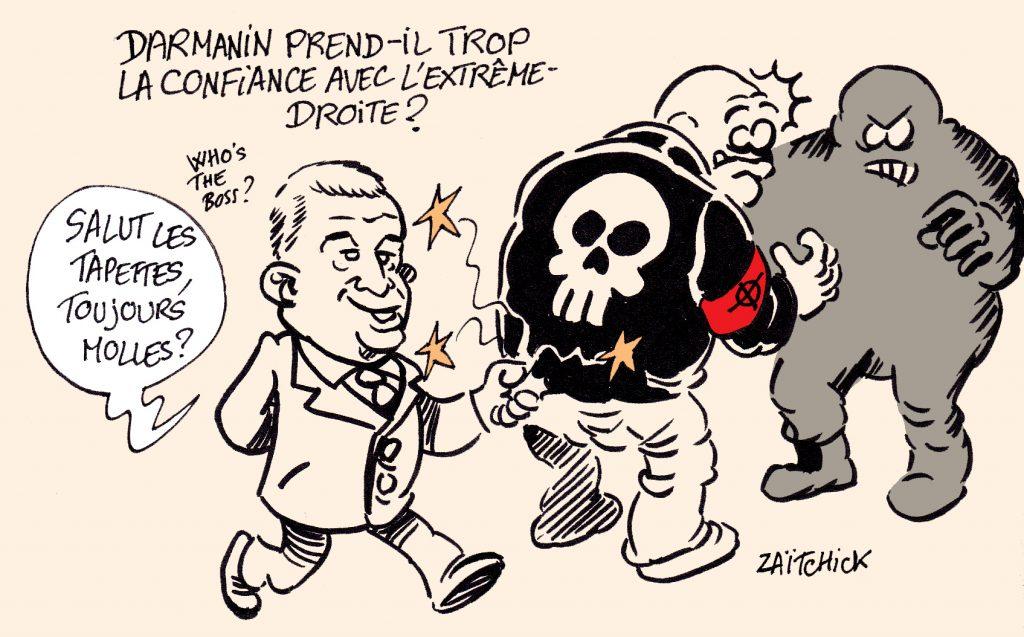 dessin presse humour Gérald Darmanin image drôle extrême-droite molle