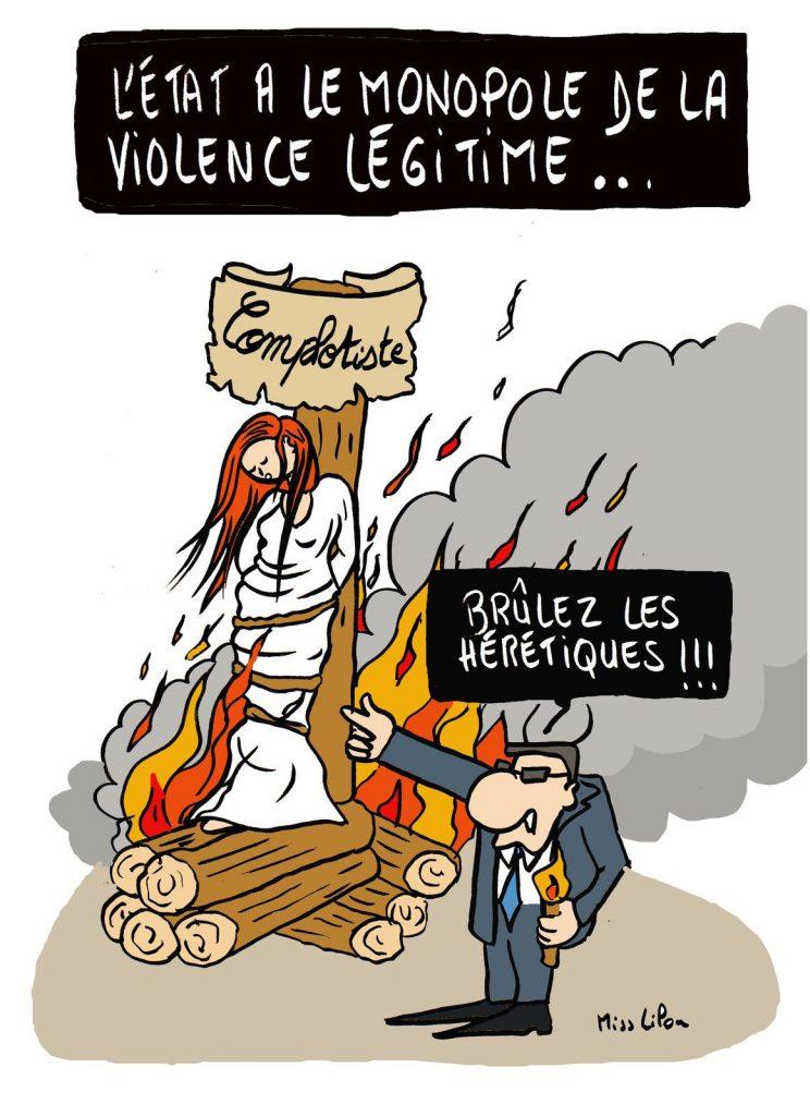 dessin presse humour État monopole image drôle violence complotisme
