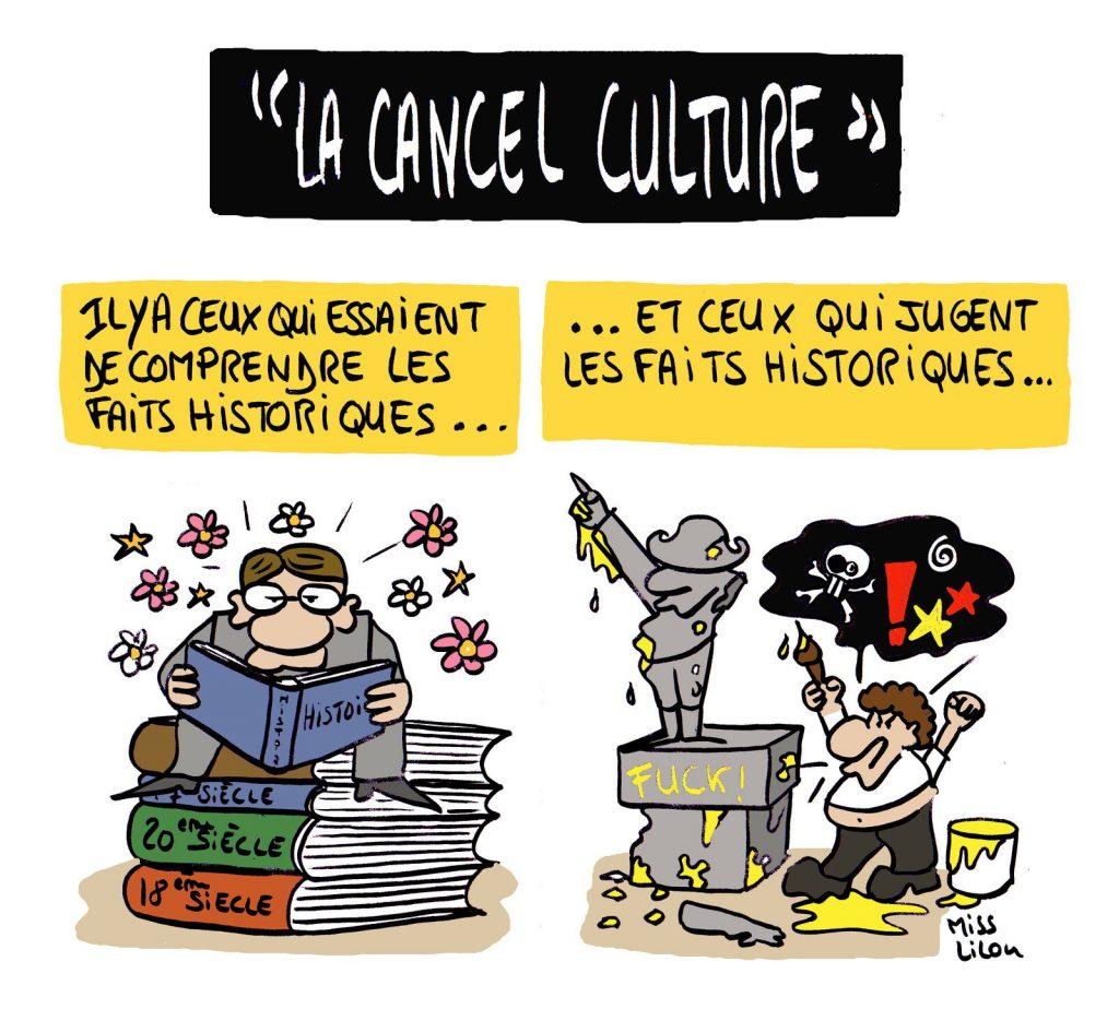 dessin presse humour cancel culture image drôle compréhension histoire