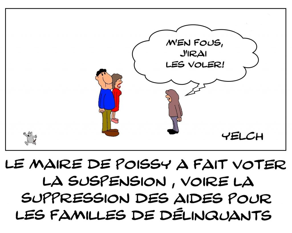 dessins humour maire Poissy image drôle aides familiales suppression délinquance
