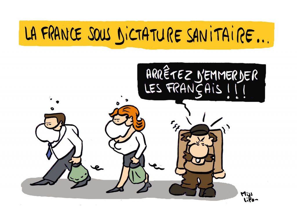 dessin presse humour dictature sanitaire image drôle coronavirus covid-19
