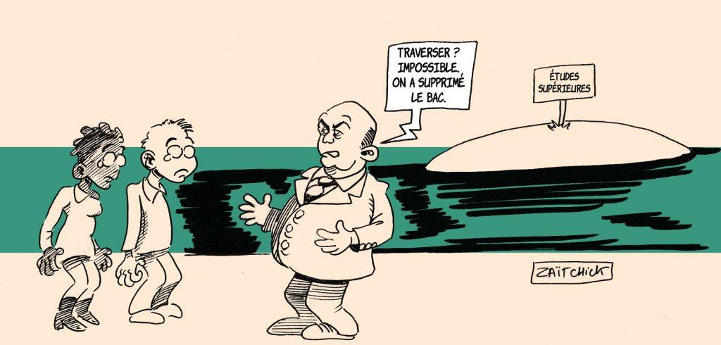 dessin presse humour Jean-Michel Blanquer image drôle suppression baccalauréat