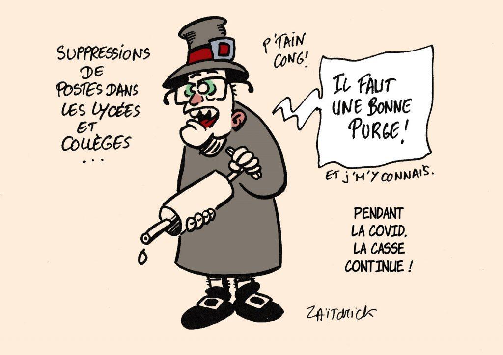 dessin presse humour Jean Castex image drôle Éducation Nationale suppressions postes